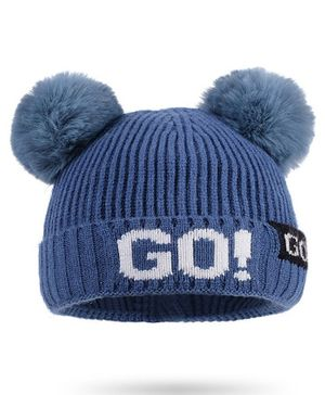 Syga Woolen Cap with Pom Pom Blue - Diameter 36-48cm