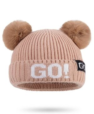 Syga Woolen Cap with Pom Pom Brown - Diameter 36-48cm