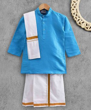 Dapper Dudes Full Sleeves Solid Colour Mundu Set With Angavastram - Sky Blue