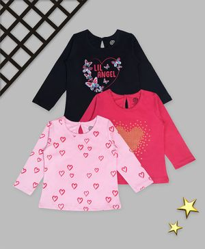 Tambourine Full Sleeves Pack Of 3 Heart Print Tee - Pink Blue