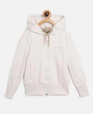 Alcis Full Sleeves Solid Hooded Jacket - Off White