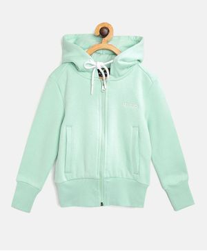 Alcis Full Sleeves Solid Hooded Jacket - Green