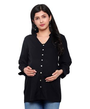 Mometernity Full Sleeves Solid Color Button Down Maternity Shirt Style Top - Black