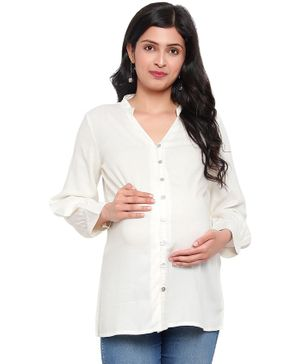 Mometernity Full Sleeves Solid Color Button Down Maternity Shirt Style Top - Off White
