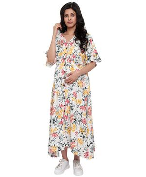 Mometernity Half Sleeves Floral Tropical Print Maternity Dress - White