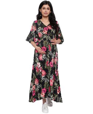 Mometernity Half Sleeves Tropical Print Maternity Dress With Mask  - Black