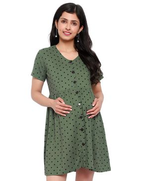 Mometernity Half Sleeves Polka Dot Print Maternity Tunic Dress With Face Mask  - Olive