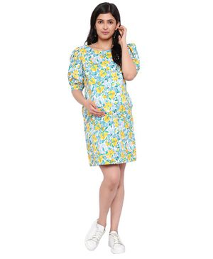 Mometernity Puff Half Sleeves Floral Printed Maternity Dress With Mask - Multi Colour