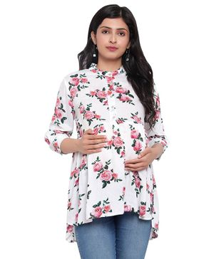 Mometernity Three Fourth Sleeves Floral Rose Print Maternity Top With Mask - Off White
