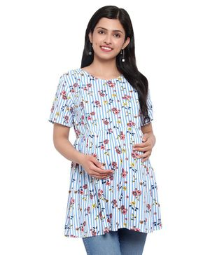 Mometernity Half Sleeves Floral Printed & Striped Maternity Top - Blue