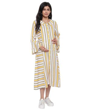 Mometernity Full Sleeves Striped Ruffle Maternity Dress With Mask - Yellow