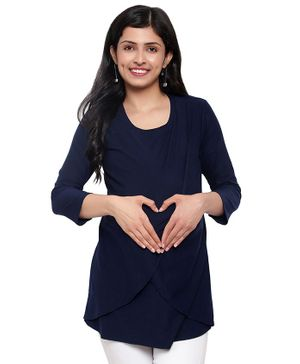 Mometernity Three Fourth Sleeves Solid Crossover Maternity Top - Navy Blue