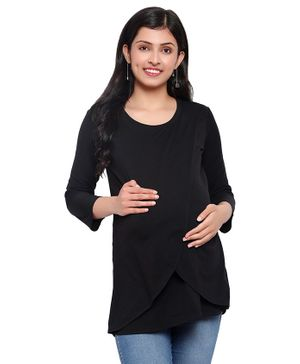 Mometernity Three Fourth Sleeves Solid Crossover Maternity & Nursing Top - Black