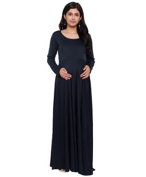 Mometernity Full Sleeves Solid Color Long Maternity Dress - Navy Blue