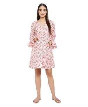 Mometernity Bell Full Sleeves Floral Print Maternity Dress - Pink