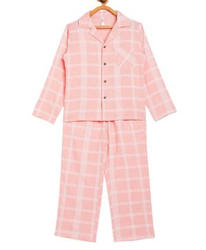 Stylo Bug Full Sleeves Checked Night Suit With Mask -Pink