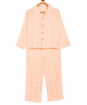 Stylo Bug Full Sleeves Checked Night Suit With Mask - Peach