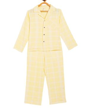Stylo Bug Full Sleeves Checked Night Suit With Mask  - Yellow