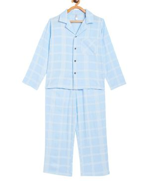 Stylo Bug Full Sleeves Checked Night Suit With Mask  - Blue