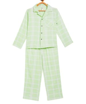 Stylo Bug Full Sleeves Checked Night Suit With Mask  - Green