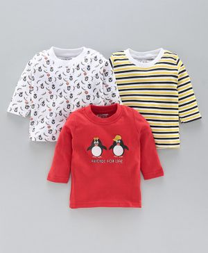 Bumzee Full Sleeves Striped & Penguin Print Pack Of 3 Tee - Multi Color