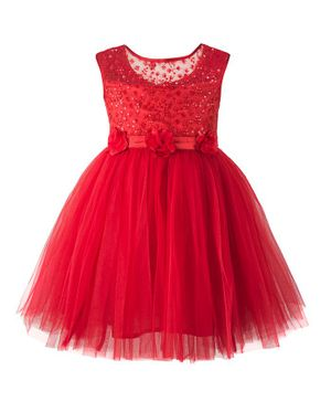 Toy Balloon Sleeveless Flower Embroidery Detailing Flared Dress - Red