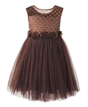 Toy Balloon Sleeveless Sequin Flower Embellished Flared Dress - Brown