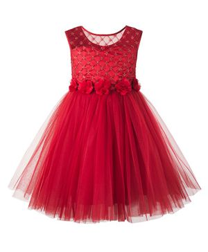 Toy Balloon Sleeveless Sequin Flower Embellished Flared Dress - Red