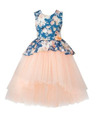 Toy Balloon Sleeveless Floral Print High Low Tulle Flared Dress - Blue & Peach