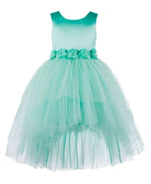 Toy Balloon Sleeveless Flower Applique Tulle Flared High Low Dress - Sea Green