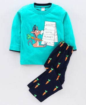 Nottie Planet Full Sleeves Horse Print T-Shirt With Pant - Green