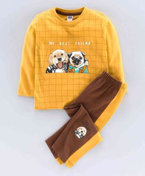 Nottie Planet Full Sleeves Dog Print T-Shirt With Pant -Mustard