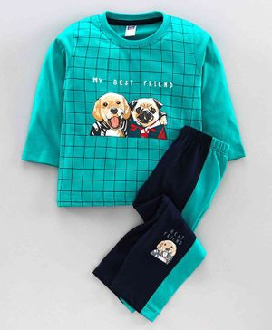 Nottie Planet Full Sleeves Dog Print T-Shirt With Pant -Green