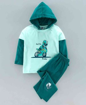 Nottie Planet Full Sleeves Man With Motor Bike Print Infant Hood T-Shirt With Pant Set - Green