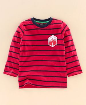 JusCubs Full Sleeves Striped Tee - Red