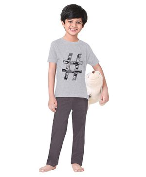 Funkrafts Half Sleeves Hashtag Printed Night Suit - Grey
