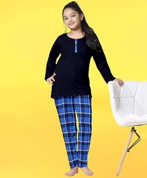 Funkrafts Full Sleeves Full Sleeves Checked Night Suit - Blue