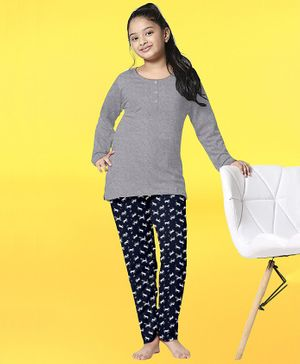 Funkrafts Full Sleeves Unicorns Printed Night Suit - Blue & Grey