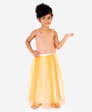 Lil Peacock Sleeveless Sequined Top With Skirt - Peach