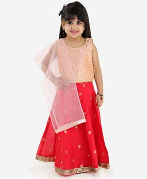 Lil Peacock Sleeveless Floral Embroidered Choli With Lehenga & Dupatta - Peach & Red