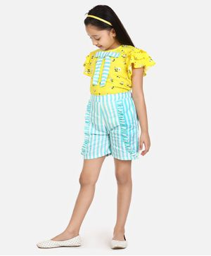 Lilpicks Couture Half Sleeves Floral Print Top With Ruffle Striped Shorts - Yellow & Blue