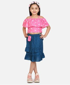 Lilpicks Couture Striped Short Sleeves Top With Skirt - Pink & Blue