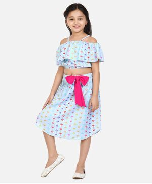 Lilpicks Couture Short Sleeves Printed Cold Shoulder Top With Skirt - Sky Blue