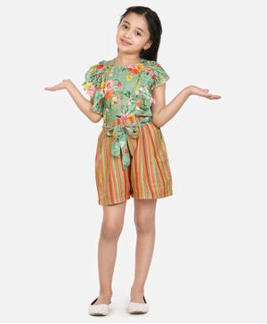 Lilpicks Couture Short Sleeves Floral Print Top With Striped Shorts - Green