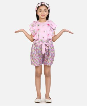 Lilpicks Couture Short Sleeves Floral Print Top With Shorts - Pink
