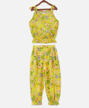 Lilpicks Couture Sleeveless Flower Print Top With Pant Set - Yellow