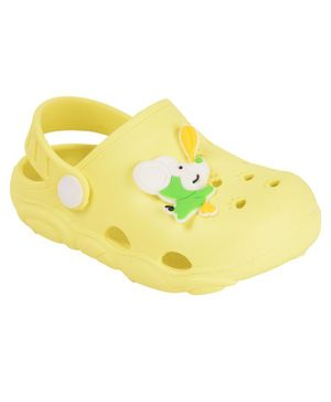 Yellow Bee Clogs With Puppy Motif - Yellow
