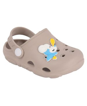 Yellow Bee Clogs With Puppy Motif - Grey