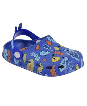 Yellow Bee Duck & Text Print Clogs - Blue