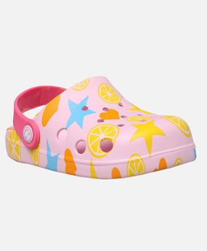Yellow Bee Fruit and Star Print Clogs - Pink